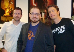 Jeremy Haun (center) with Top Cow publisher Filip Sablik and president Matt Hawkins.