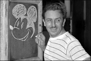 Walt Disney draws Mickey Mouse